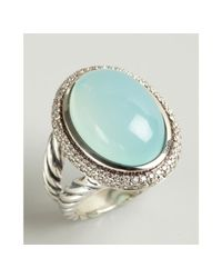 David Yurman | Metallic Sterling Silver and Aqua Chalcedony Signature Oval Diamond Ring | Lyst