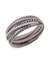 Swarovski | Metallic Light Gray Fabric Crystal Stud Wrap Bracelet | Lyst