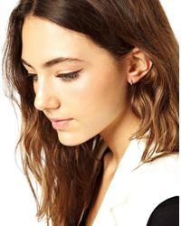 ASOS - Metallic Sterling Silver Mini Hoop Earrings - Lyst