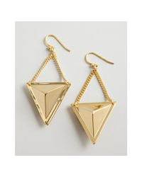 A.V. Max | Metallic Gold Metal Stud and Chain Drop Earrings | Lyst