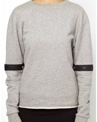 Back by Ann-Sofie Back - Gray Back By Annsofie Back Zip Sleeve Sweatshirt - Lyst
