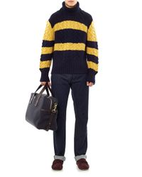 Black Fleece By Brooks Brothers | Yellow Cableknit Rollneck Sweater | Lyst