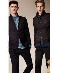 Burberry - Black Resinated Denim Jacket for Men - Lyst