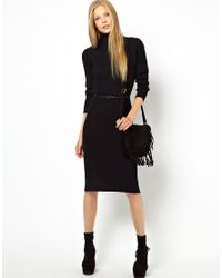 Ganni Black Manhattan Midi Polo Neck Dress