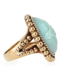 Stephen Dweck - Metallic Floral Carved Blue Quartzite Ring   - Lyst