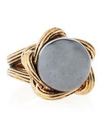 Stephen Dweck - Metallic Hematite Carved Knit Ring - Lyst