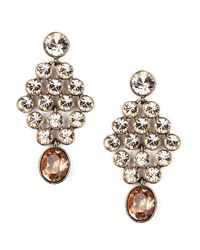 Givenchy | Metallic Clear and Brown Crystal Chandelier Earrings | Lyst