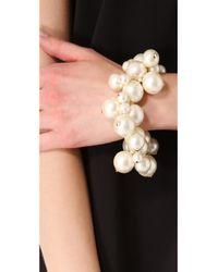 Kenneth Jay Lane - White Bead Cluster Stretch Bracelet - Lyst