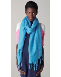 Love Quotes | Blue Knotted Tassel Linen Scarf | Lyst