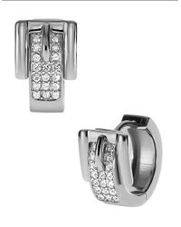 Michael Kors - Metallic Silver Tone Pave Buckle Huggie Earrings - Lyst
