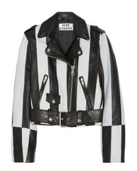 Acne Studios | White Mape Striped Leather Biker Jacket | Lyst