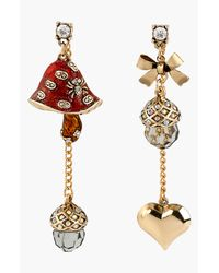 Betsey Johnson | Red Enchanted Forest Mismatched Drop Earrings | Lyst
