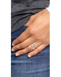 Campbell - Metallic Delicate Double Stack Ring - Lyst