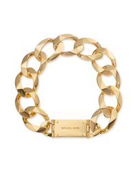 Michael Kors | Metallic Gold Tone Chain Link Logo Plate Collar Necklace | Lyst