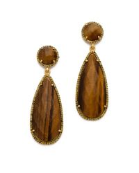 One By | Metallic Crown Stone Drop Earrings | Lyst