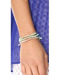 Shashi - Green Single Petit Golden Nugget Adjustable Bracelet - Lyst