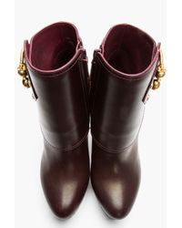Alexander McQueen - Red Burgundy Leather Twin Skull Buckled Armadillo Boots - Lyst
