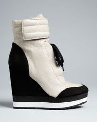 Boutique 9 - Black High Top Wedge Sneaker Booties Whispers - Lyst
