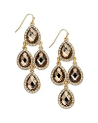 INC International Concepts - Metallic Gold-tone Bronze-tone Stone And Crystal Pave Chandelier Earrings - Lyst