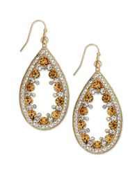 INC International Concepts - Metallic Goldtone Topaz and Clear Crystal Teardrop Earrings - Lyst