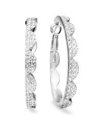 Kate Spade | Metallic New York Earrings Silver Tone Scalloped Pave Hoop Earrings | Lyst
