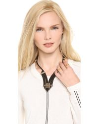 Rebecca Minkoff - Black Leather Cord Necklace - Lyst
