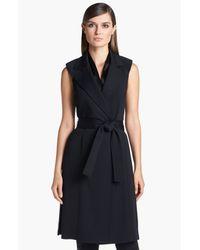 St. John | Black Belted Long Milano Knit Vest | Lyst