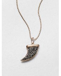 Sydney Evan | Pink Black Diamond & 14k Rose Gold Medium Horn Pendant Necklace | Lyst