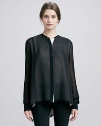 Vince | Double-layer Silk Blouse Black-ivory | Lyst