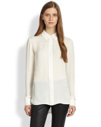 VINCE | White Silk Blouse | Lyst
