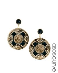 ASOS - Black Exclusive Cameo Doorknocker Earrings - Lyst