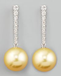 Eli Jewels | Yellow Golden South Sea Pearl & Diamond Bar Drop Earrings | Lyst