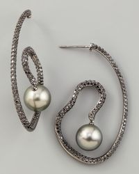Eli Jewels | Metallic Gray Pearl & Black Diamond Spiral Earrings | Lyst