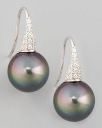 Eli Jewels | Metallic Gray South Sea Pearl & Diamond Drop Earrings | Lyst
