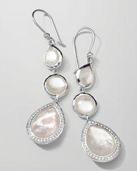 Ippolita | Metallic Stella 3-drop Earrings In Mother-of-pearl & Diamonds | Lyst