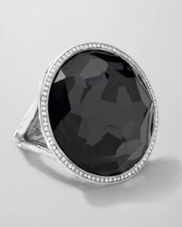 Ippolita | Metallic Stella Large Lollipop Ring In Hematite & Diamonds | Lyst