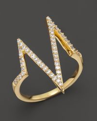 Khai Khai | Metallic Diamond Shockwave Ring In 18k Yellow Gold, .3 Ct. T.w. | Lyst