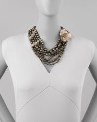 Alexis Bittar - Black Neo Boho Manmade Pearl Floral Necklace - Lyst