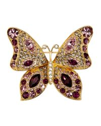 Brooks Brothers | Purple Gold Butterfly Brooch | Lyst