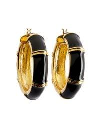 Brooks Brothers - Gold And Black Medium Hoop Earrings - Lyst