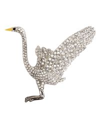 Brooks Brothers | Metallic Audubon Crane Crystal Brooch | Lyst