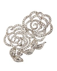 Brooks Brothers | Metallic Crystal Open Flower Brooch | Lyst