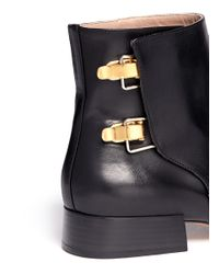 Chloé - Black Buckled Leather Boots - Lyst