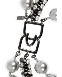 Kenneth Jay Lane - Gray Gunmetalplated Swarovski Crystal and Faux Pearl Necklace - Lyst