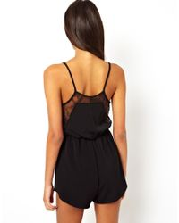 Monki - Black Oh My Love Playsuit with Lace Inserts - Lyst