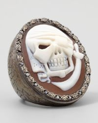 Amedeo | Metallic Black Diamond-trim Pirate Skull Cameo Ring | Lyst