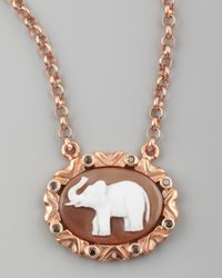 Amedeo - Metallic Black Diamond Trim Elephant Cameo Necklace - Lyst