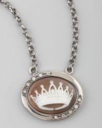 Amedeo | Brown Diamond-trim Crown Cameo Necklace | Lyst