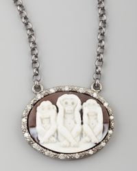 Amedeo | Multicolor Diamond-trim Three Wise Monkeys No Evil Cameo Necklace | Lyst