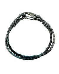 Black.co.uk | Woven Black Leather And Steel Bracelet for Men | Lyst